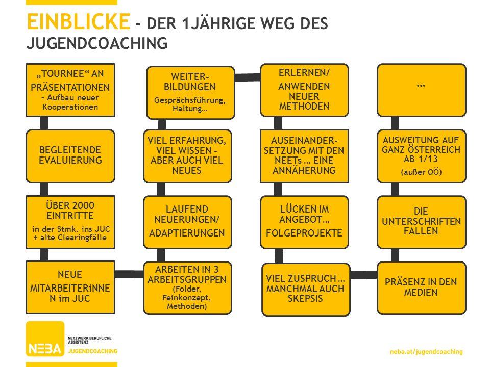 EINBLICKE - DER 1JÄHRIGE WEG DES JUGENDCOACHING TOURNEE AN PRÄSENTATIONEN – A ufbau neuer Kooperationen BEGLEITENDE EVALUIERUNG ÜBER 2000 EINTRITTE in