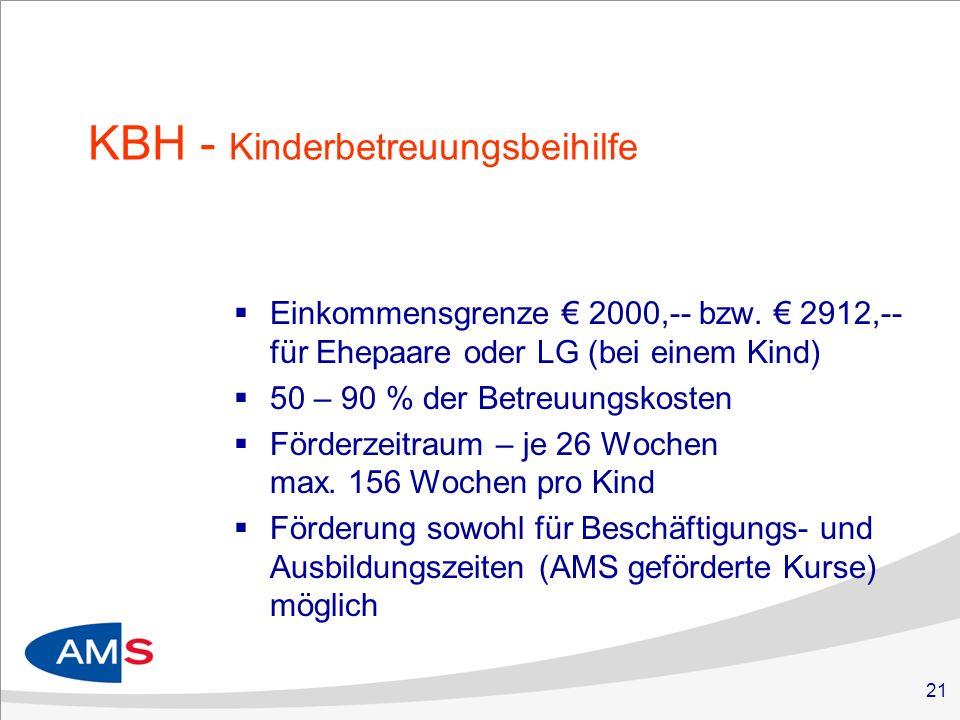 21 KBH - Kinderbetreuungsbeihilfe Einkommensgrenze 2000,-- bzw.
