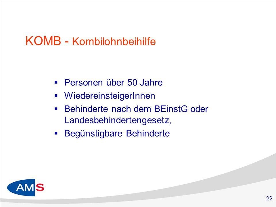 22 KOMB - Kombilohnbeihilfe Personen über 50 Jahre WiedereinsteigerInnen Behinderte nach dem BEinstG oder Landesbehindertengesetz, Begünstigbare Behinderte