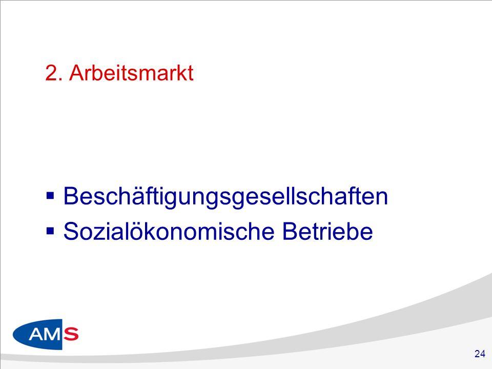 24 2. Arbeitsmarkt Beschäftigungsgesellschaften Sozialökonomische Betriebe