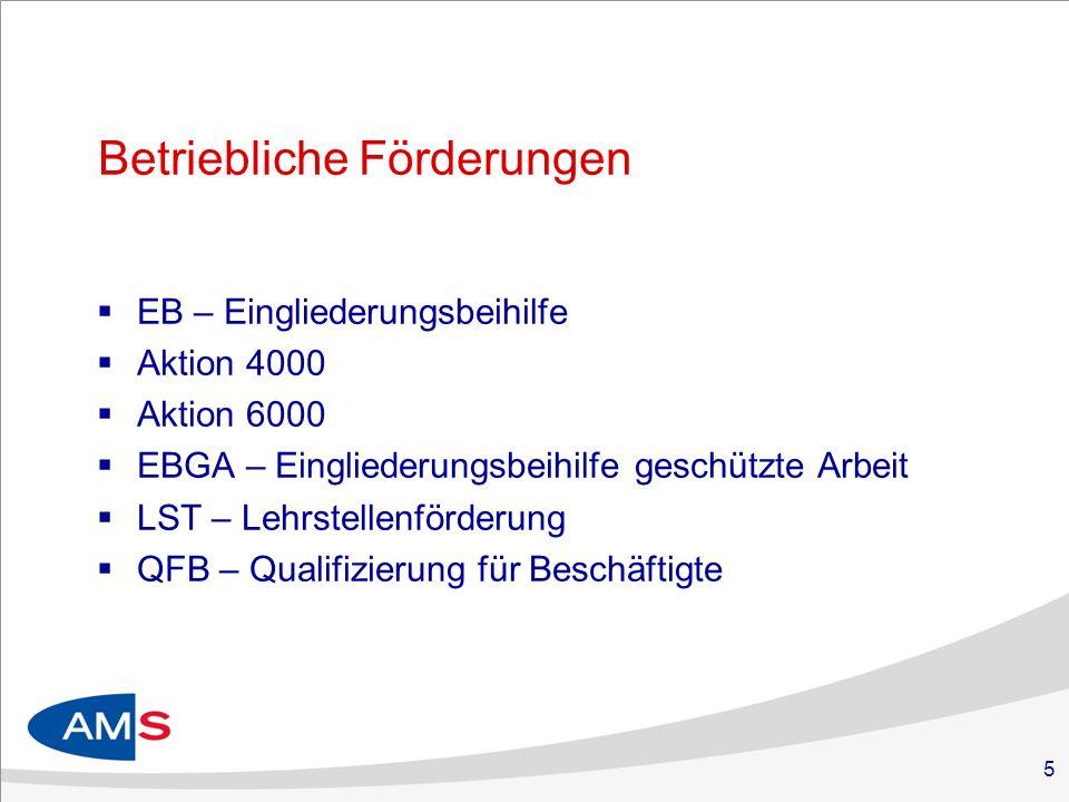 5 Betriebliche Förderungen EB – Eingliederungsbeihilfe Aktion 4000 Aktion 6000 EBGA – Eingliederungsbeihilfe geschützte Arbeit LST – Lehrstellenförderung QFB – Qualifizierung für Beschäftigte