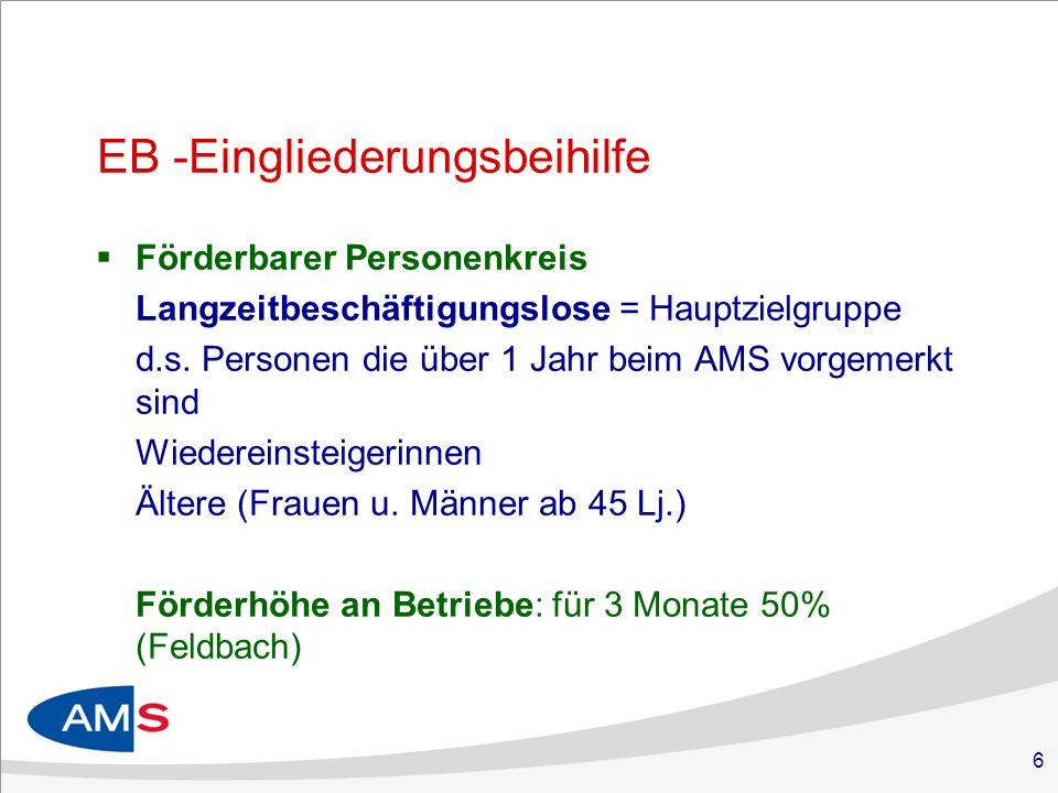 6 EB -Eingliederungsbeihilfe Förderbarer Personenkreis Langzeitbeschäftigungslose = Hauptzielgruppe d.s.