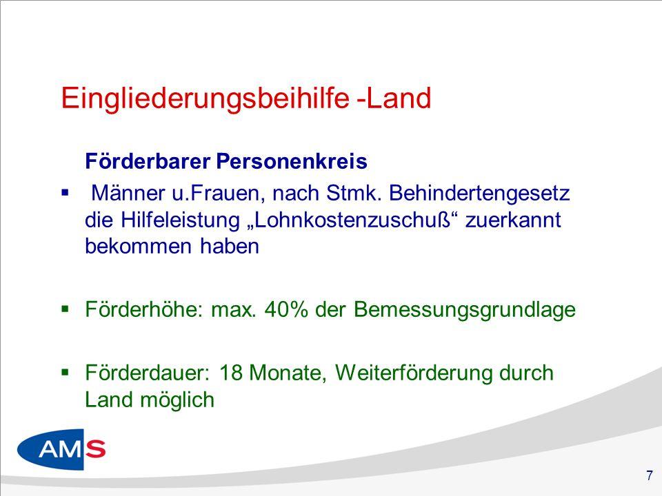 7 Eingliederungsbeihilfe -Land Förderbarer Personenkreis Männer u.Frauen, nach Stmk.
