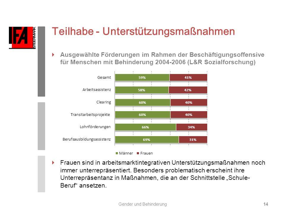 Teilhabe - Unterstützungsmaßnahmen Ausgewählte Förderungen im Rahmen der Beschäftigungsoffensive für Menschen mit Behinderung 2004-2006 (L&R Sozialfor