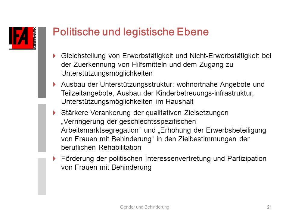 Politische und legistische Ebene Gleichstellung von Erwerbstätigkeit und Nicht-Erwerbstätigkeit bei der Zuerkennung von Hilfsmitteln und dem Zugang zu