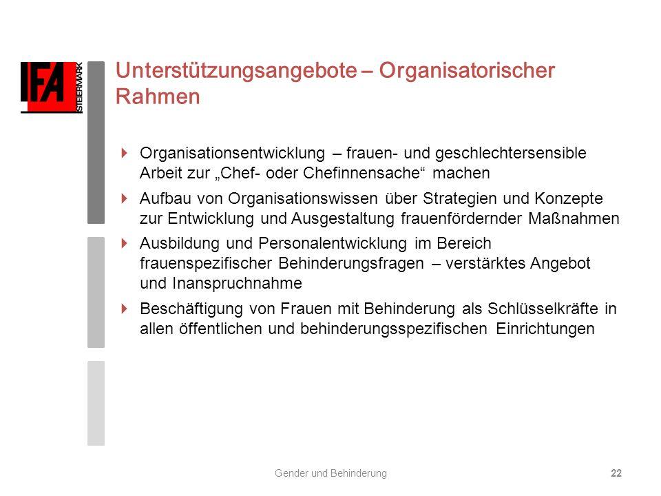 Unterstützungsangebote – Organisatorischer Rahmen Organisationsentwicklung – frauen- und geschlechtersensible Arbeit zur Chef- oder Chefinnensache mac