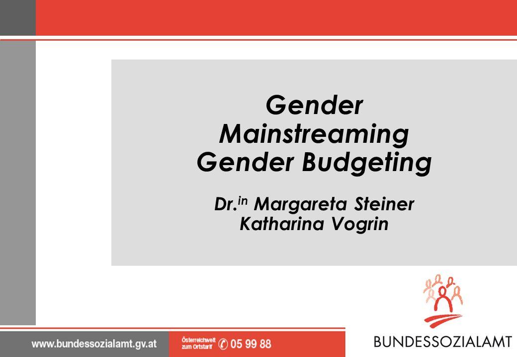 Gender Mainstreaming Gender Budgeting Dr. in Margareta Steiner Katharina Vogrin