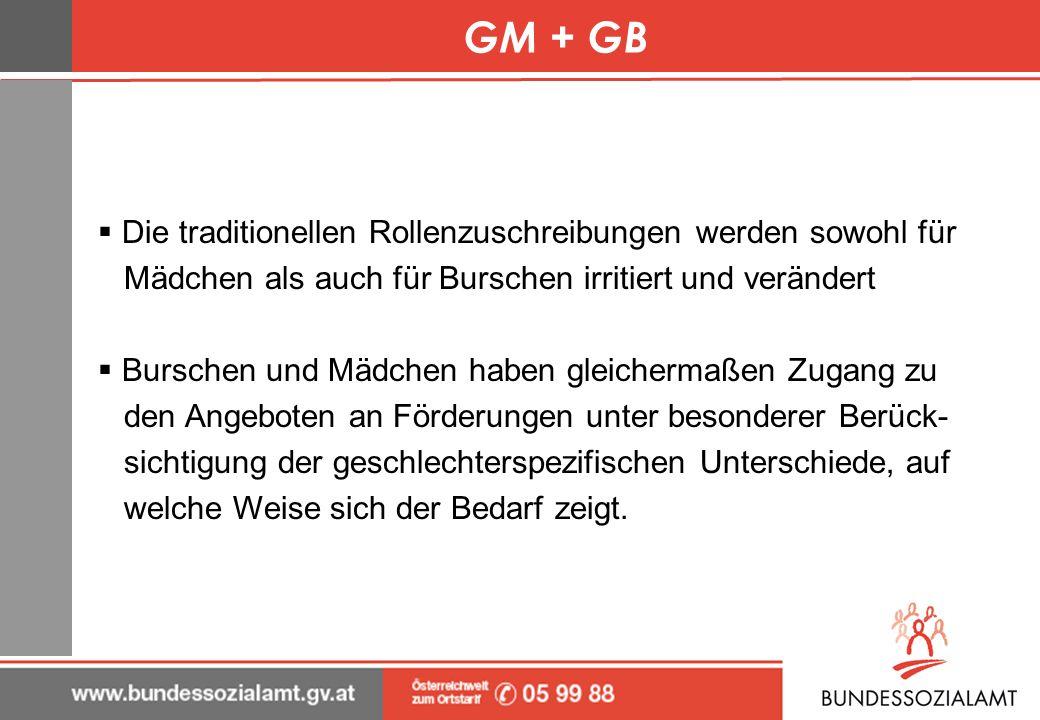 GM + GB Die traditionellen Rollenzuschreibungen werden sowohl für Mädchen als auch für Burschen irritiert und verändert Burschen und Mädchen haben gle