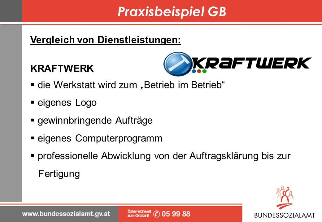 Praxisbeispiel GB Vergleich von Dienstleistungen: KRAFTWERK die Werkstatt wird zum Betrieb im Betrieb eigenes Logo gewinnbringende Aufträge eigenes Co