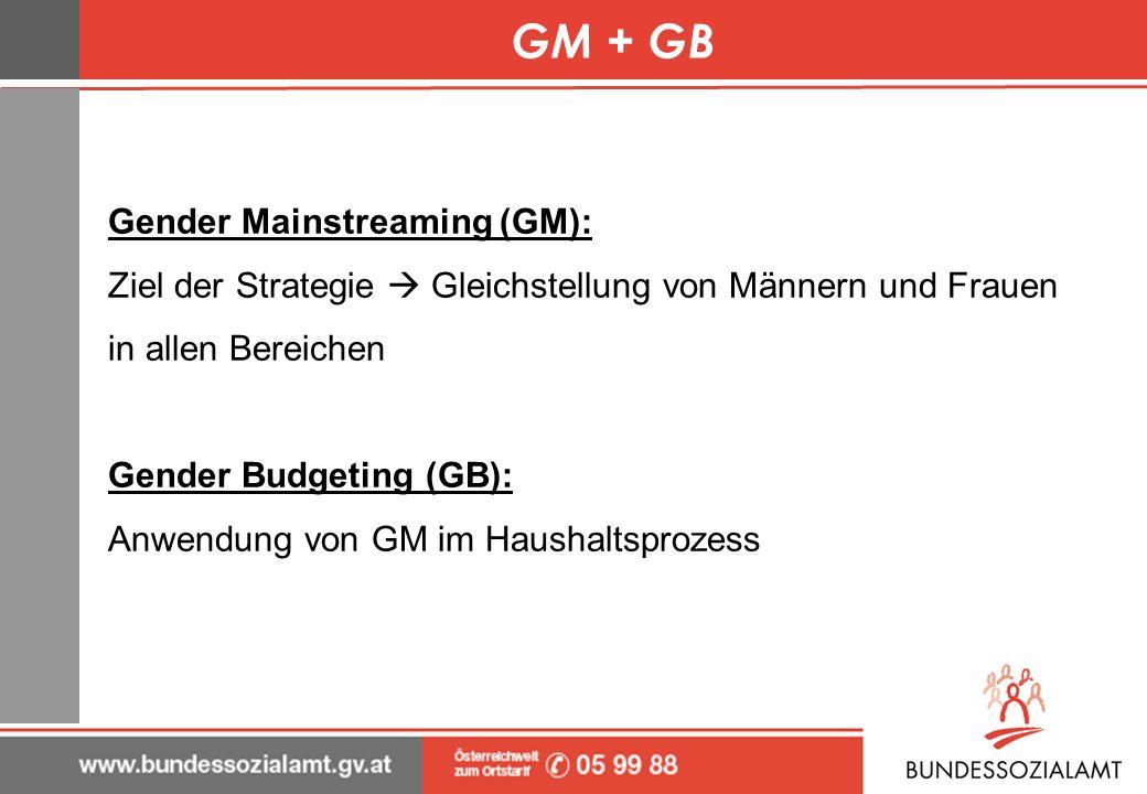 GM + GB Gender Mainstreaming (GM): Ziel der Strategie Gleichstellung von Männern und Frauen in allen Bereichen Gender Budgeting (GB): Anwendung von GM