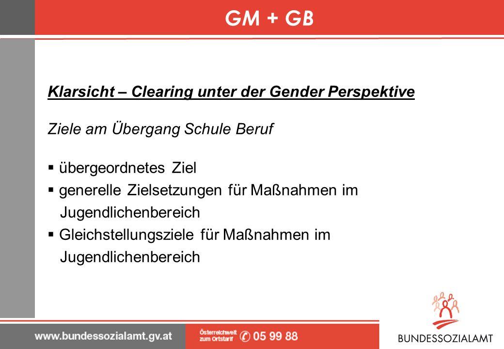 GM + GB Klarsicht – Clearing unter der Gender Perspektive Ziele am Übergang Schule Beruf übergeordnetes Ziel generelle Zielsetzungen für Maßnahmen im