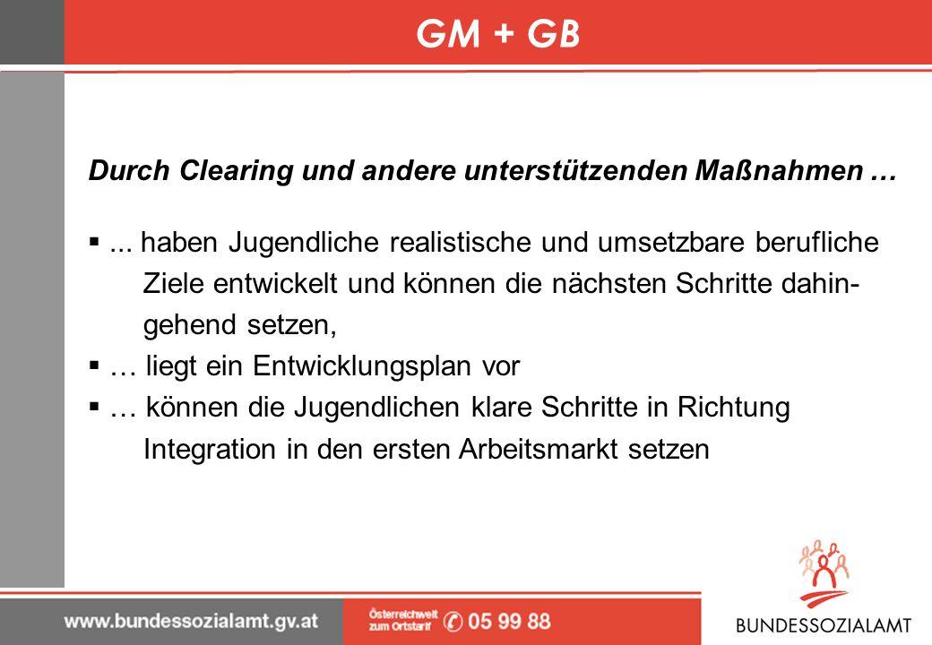GM + GB Durch Clearing und andere unterstützenden Maßnahmen …... haben Jugendliche realistische und umsetzbare berufliche Ziele entwickelt und können