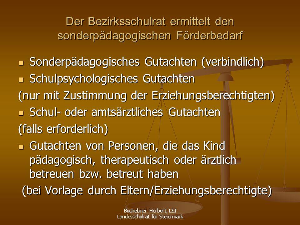 Buchebner Herbert, LSI Landesschulrat für Steiermark bei Beantragung durch Erziehungsberechtigte: mündliche Verhandlung bei Beantragung durch Erziehungsberechtigte: mündliche Verhandlung probeweise Aufnahme: Kurs gem.