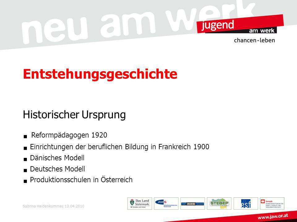 Produktionsschulen Steiermark Die Produktionsschule wird an folgenden Standorten angeboten: Graz (FAB) Kapfenberg (FAB) Leoben (JaW) Deutschlandsberg (JaW) Sabrina Heidenkummer, 13.04.2010