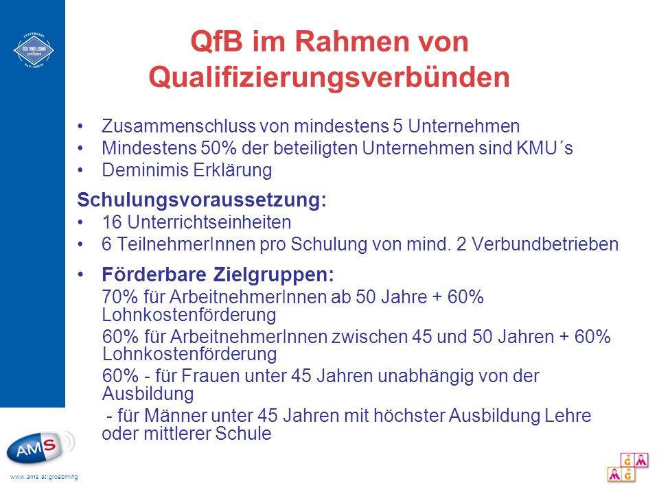 www.ams.at/groebming QfB im Rahmen von Qualifizierungsverbünden Zusammenschluss von mindestens 5 Unternehmen Mindestens 50% der beteiligten Unternehme