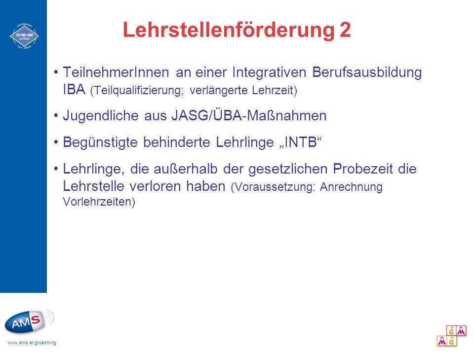 www.ams.at/groebming Lehrstellenförderung 2 TeilnehmerInnen an einer Integrativen Berufsausbildung IBA (Teilqualifizierung; verlängerte Lehrzeit) Juge