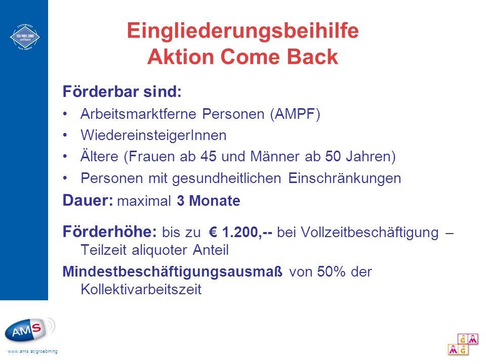 www.ams.at/groebming Eingliederungsbeihilfe Aktion Come Back Förderbar sind: Arbeitsmarktferne Personen (AMPF) WiedereinsteigerInnen Ältere (Frauen ab