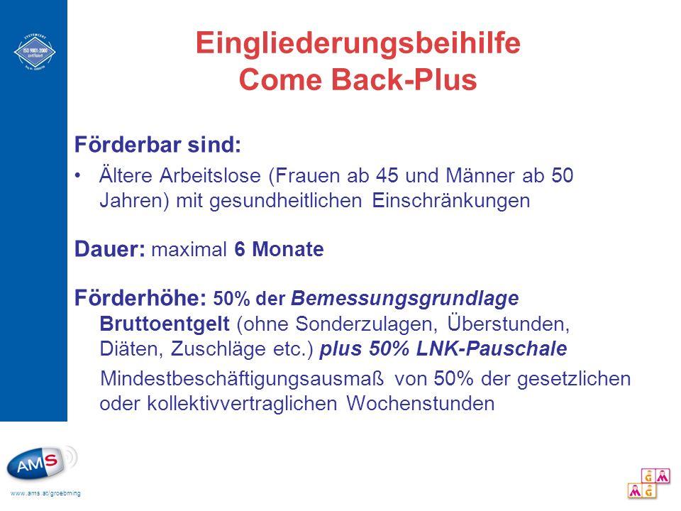 www.ams.at/groebming Eingliederungsbeihilfe Come Back-Plus Förderbar sind: Ältere Arbeitslose (Frauen ab 45 und Männer ab 50 Jahren) mit gesundheitlic