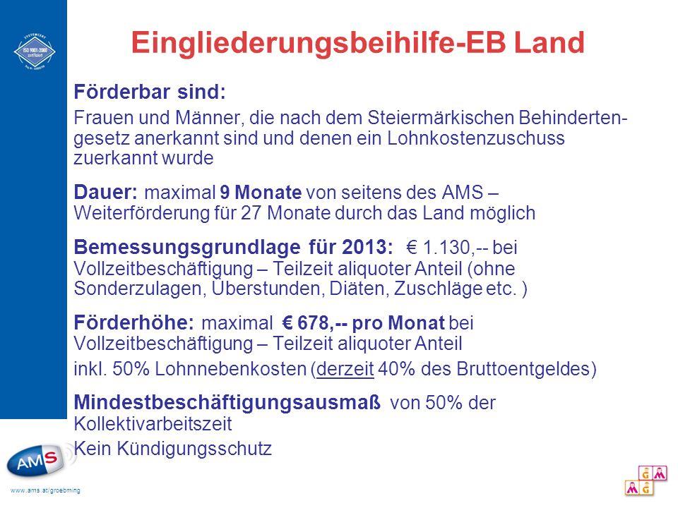 www.ams.at/groebming Eingliederungsbeihilfe-EB Land Förderbar sind: Frauen und Männer, die nach dem Steiermärkischen Behinderten- gesetz anerkannt sin