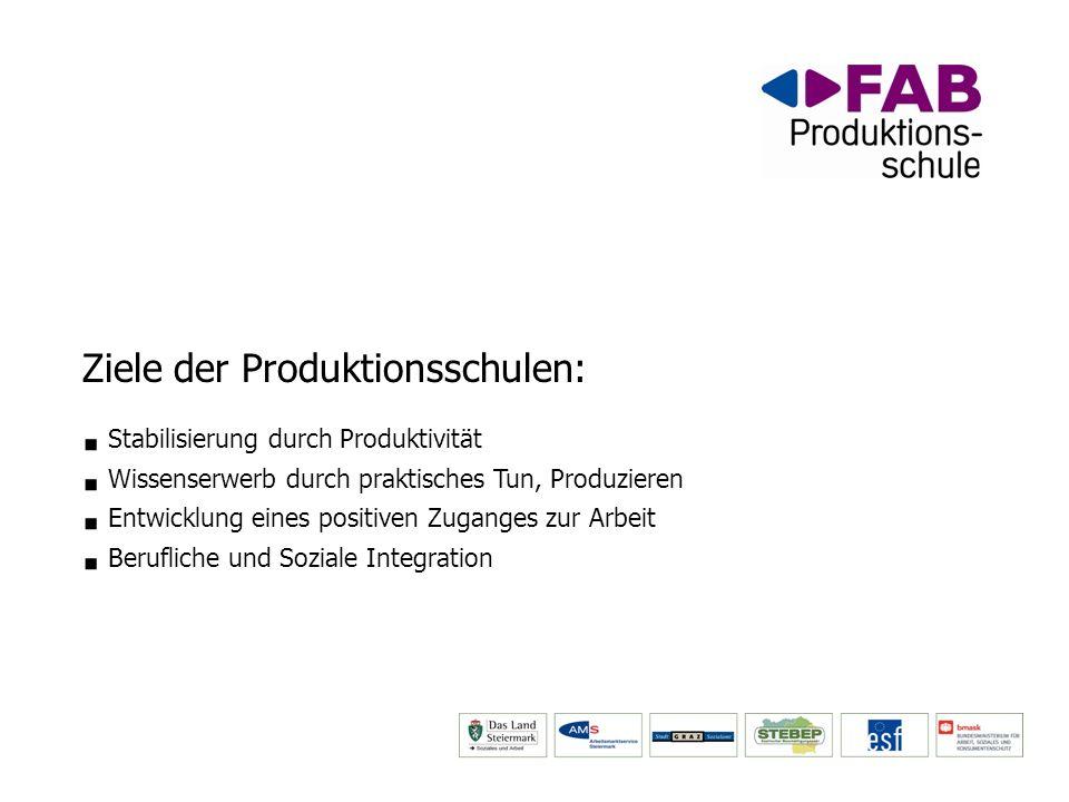 Ziele der Produktionsschulen: Stabilisierung durch Produktivität Wissenserwerb durch praktisches Tun, Produzieren Entwicklung eines positiven Zuganges