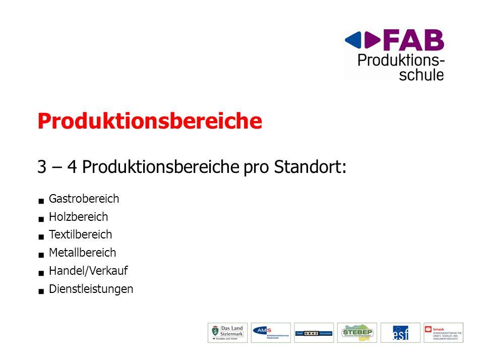Produktionsbereiche 3 – 4 Produktionsbereiche pro Standort: Gastrobereich Holzbereich Textilbereich Metallbereich Handel/Verkauf Dienstleistungen