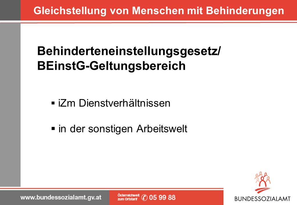 Gleichstellung von Menschen mit Behinderungen Behinderteneinstellungsgesetz/ BEinstG-Geltungsbereich iZm Dienstverhältnissen in der sonstigen Arbeitsw
