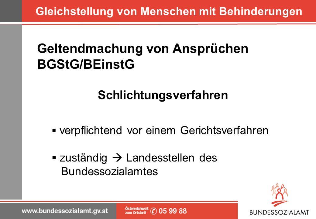 Gleichstellung von Menschen mit Behinderungen Geltendmachung von Ansprüchen BGStG/BEinstG Schlichtungsverfahren verpflichtend vor einem Gerichtsverfah