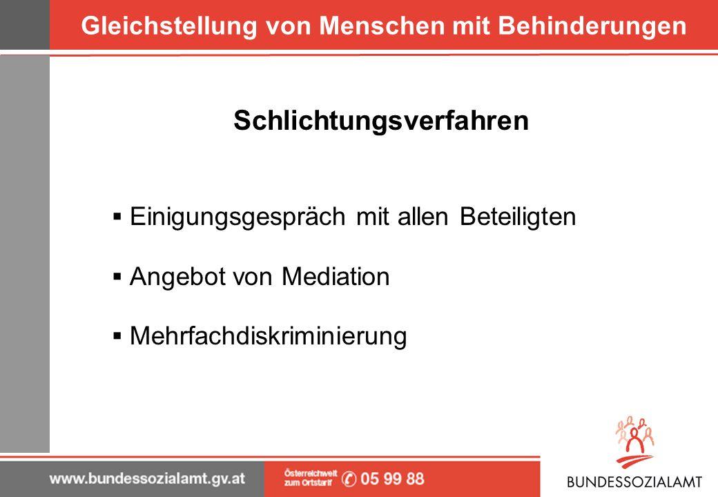 Gleichstellung von Menschen mit Behinderungen Schlichtungsverfahren Einigungsgespräch mit allen Beteiligten Angebot von Mediation Mehrfachdiskriminier