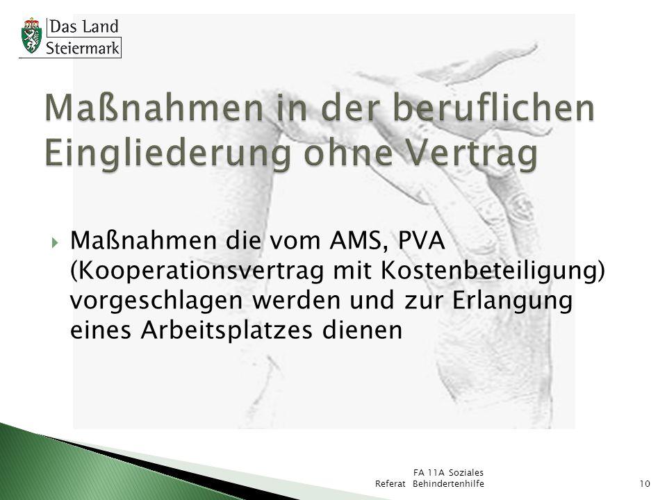 FA 11A Soziales Referat Behindertenhilfe10 Maßnahmen die vom AMS, PVA (Kooperationsvertrag mit Kostenbeteiligung) vorgeschlagen werden und zur Erlangu