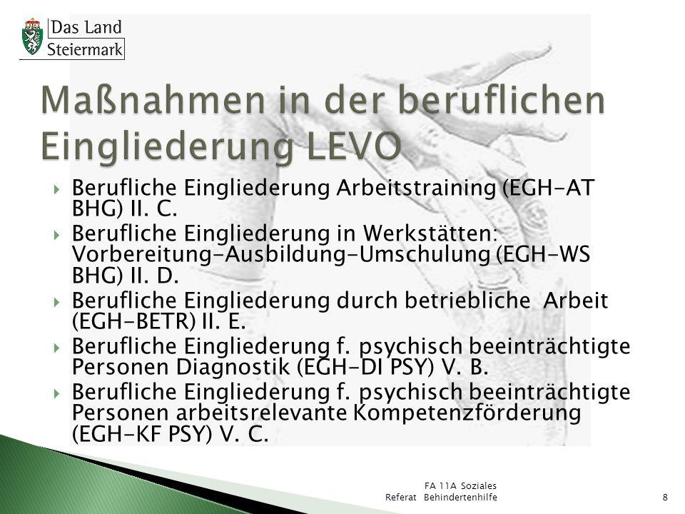 8 Berufliche Eingliederung Arbeitstraining (EGH-AT BHG) II. C. Berufliche Eingliederung in Werkstätten: Vorbereitung-Ausbildung-Umschulung (EGH-WS BHG