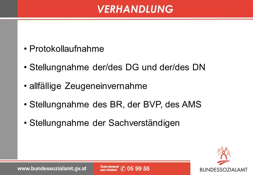 VERHANDLUNG Protokollaufnahme Stellungnahme der/des DG und der/des DN allfällige Zeugeneinvernahme Stellungnahme des BR, der BVP, des AMS Stellungnahm