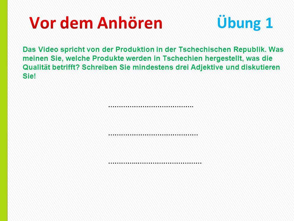 Das Video spricht von der Produktion in der Tschechischen Republik. Was meinen Sie, welche Produkte werden in Tschechien hergestellt, was die Qualität