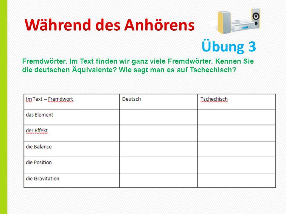 Übung 3 Fremdwörter. Im Text finden wir ganz viele Fremdwörter. Kennen Sie die deutschen Äquivalente? Wie sagt man es auf Tschechisch?