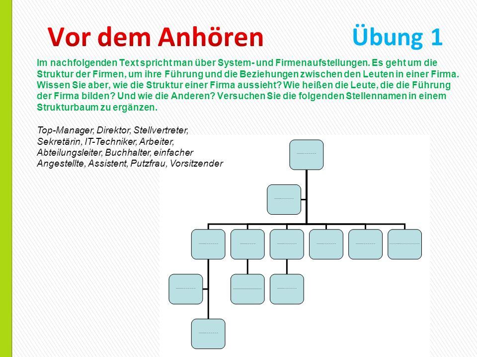Übung 2 Herr Bílý hat über die drei Gesetze der System- oder Firmenkonstellationen gesprochen.