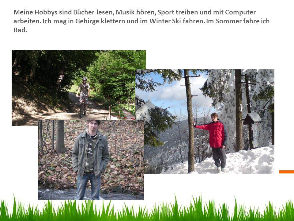 Meine Hobbys sind Bücher lesen, Musik hören, Sport treiben und mit Computer arbeiten. Ich mag in Gebirge klettern und im Winter Ski fahren. Im Sommer