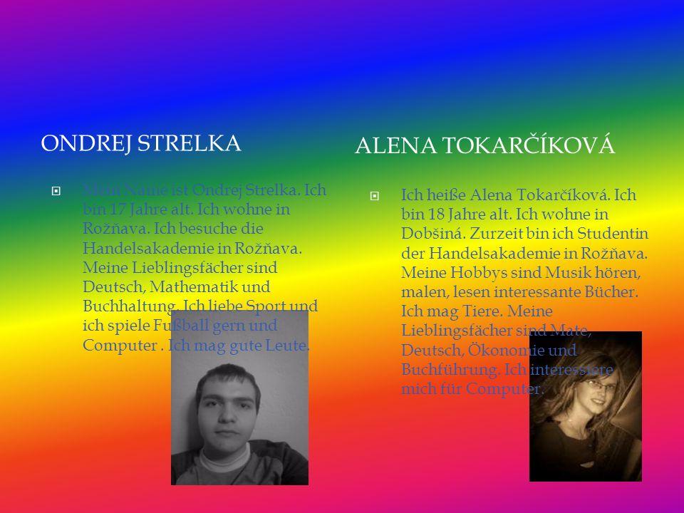 Ich heiße Alena Tokarčíková. Ich bin 18 Jahre alt.