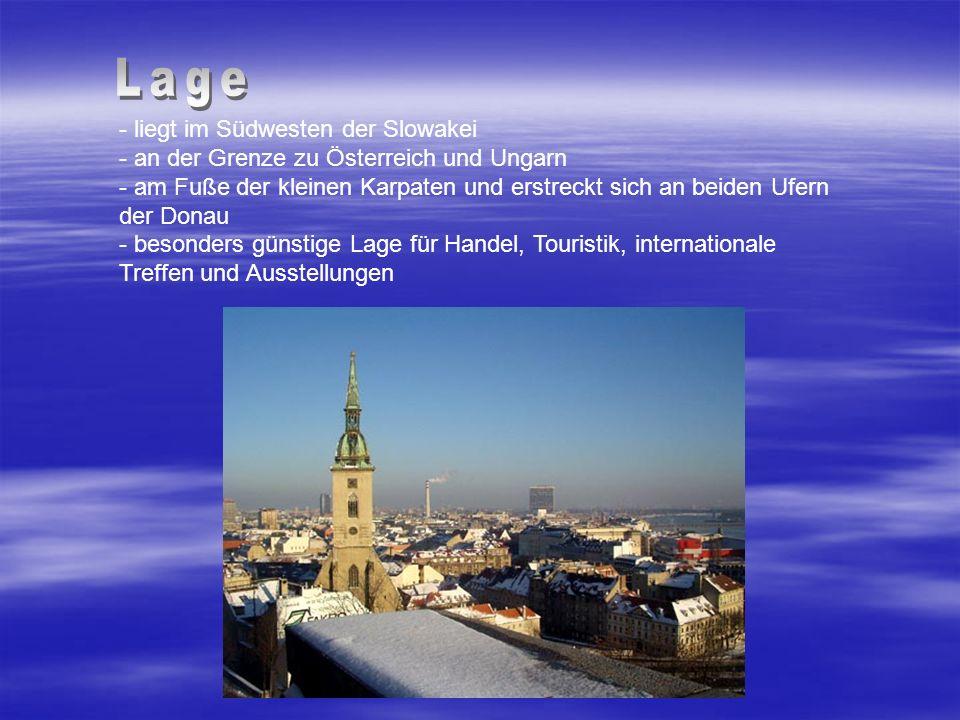 - liegt im Südwesten der Slowakei - an der Grenze zu Österreich und Ungarn - am Fuße der kleinen Karpaten und erstreckt sich an beiden Ufern der Donau