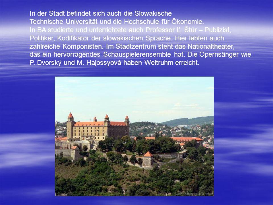 In der Stadt befindet sich auch die Slowakische Technische Universität und die Hochschule für Ökonomie. In BA studierte und unterrichtete auch Profess