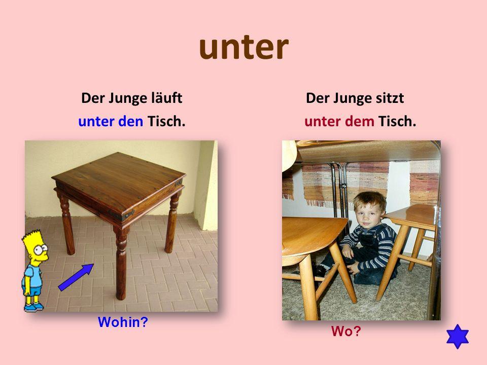 unter Der Junge läuft unter den Tisch. Der Junge sitzt unter dem Tisch. Wohin? Wo?