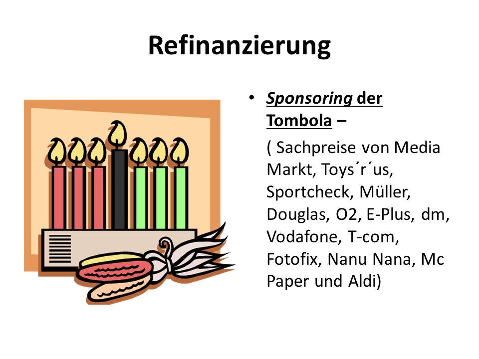 Refinanzierung Sponsoring der Tombola – ( Sachpreise von Media Markt, Toys´r´us, Sportcheck, Müller, Douglas, O2, E-Plus, dm, Vodafone, T-com, Fotofix