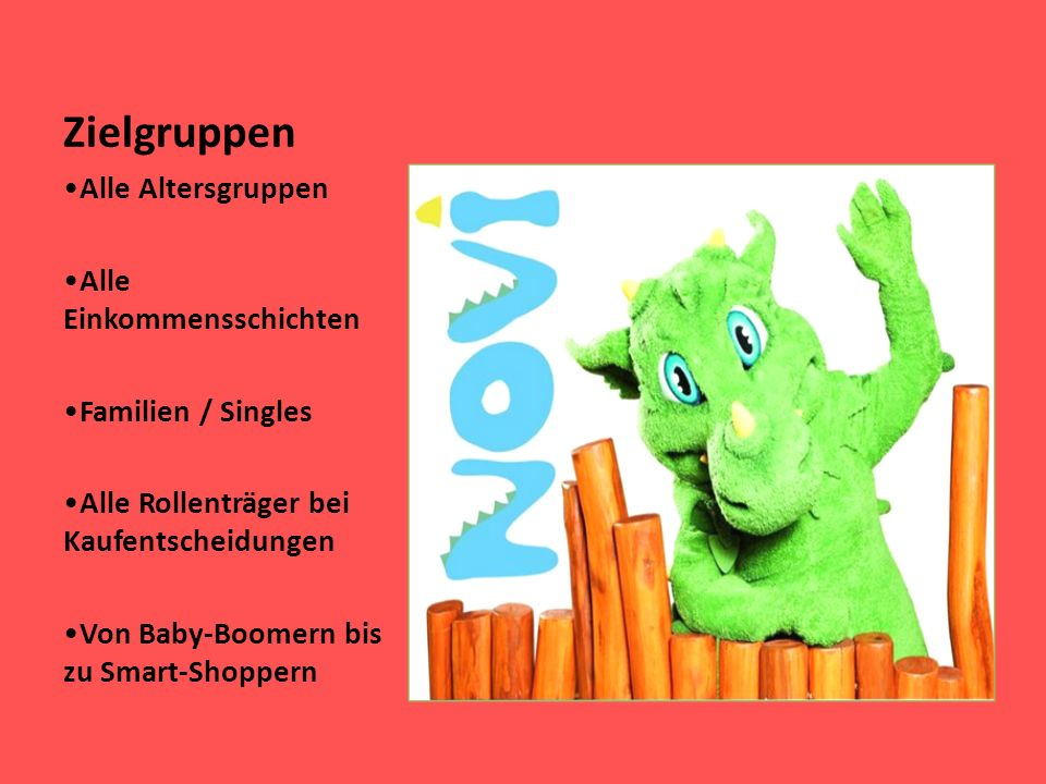 Zielgruppen Alle Altersgruppen Alle Einkommensschichten Familien / Singles Alle Rollenträger bei Kaufentscheidungen Von Baby-Boomern bis zu Smart-Shop