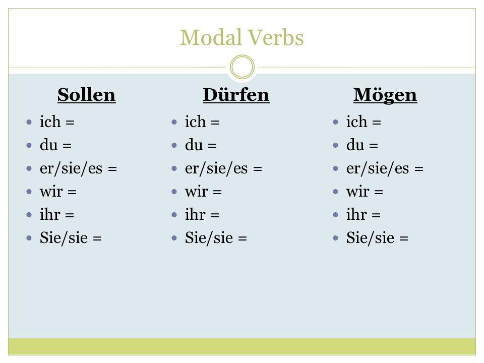 Modal Verbs SollenDürfenMögen ich = du = er/sie/es = wir = ihr = Sie/sie = ich = du = er/sie/es = wir = ihr = Sie/sie = ich = du = er/sie/es = wir = i