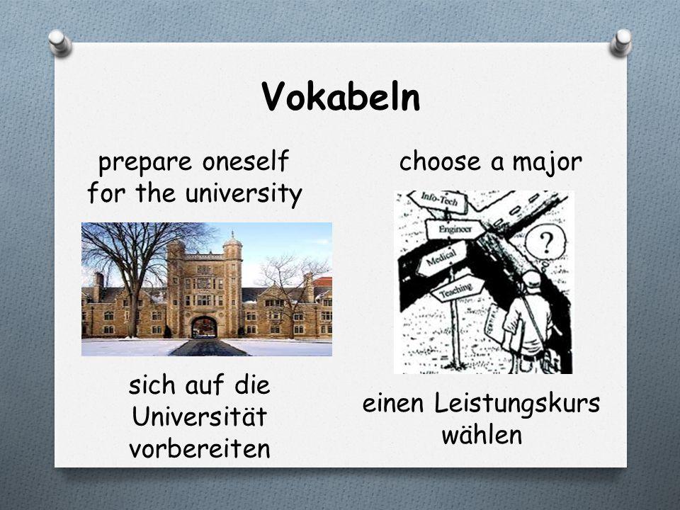 Vokabeln prepare oneself for the university choose a major sich auf die Universität vorbereiten einen Leistungskurs wählen