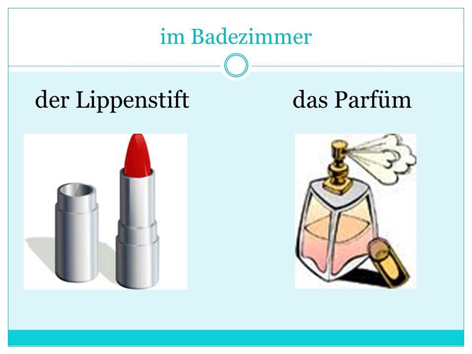 im Badezimmer der Lippenstiftdas Parfüm