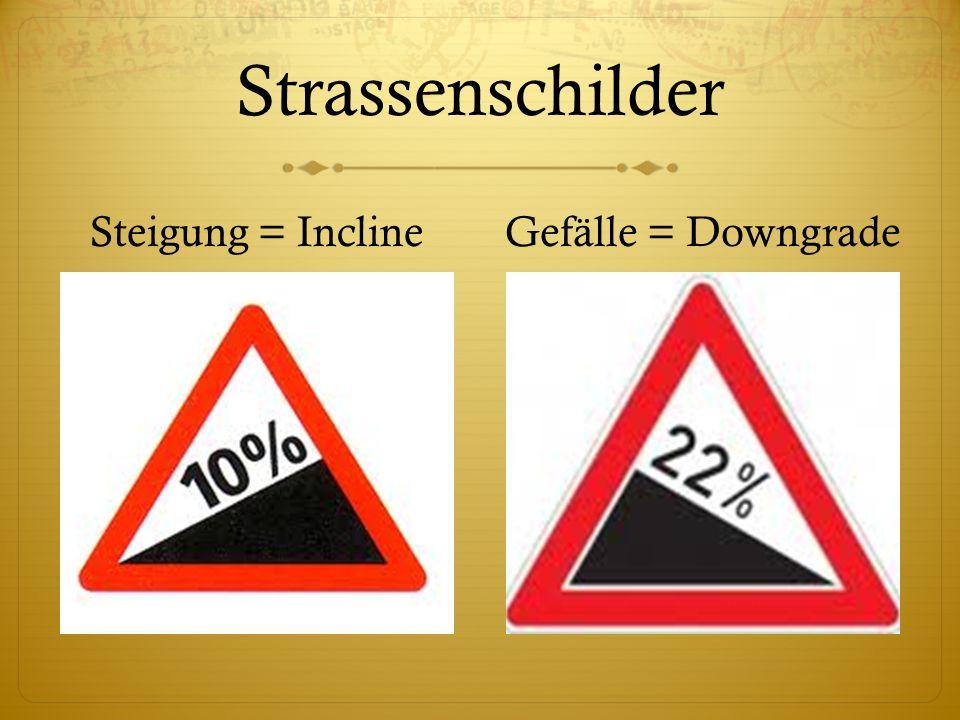 Strassenschilder Steigung = InclineGefälle = Downgrade