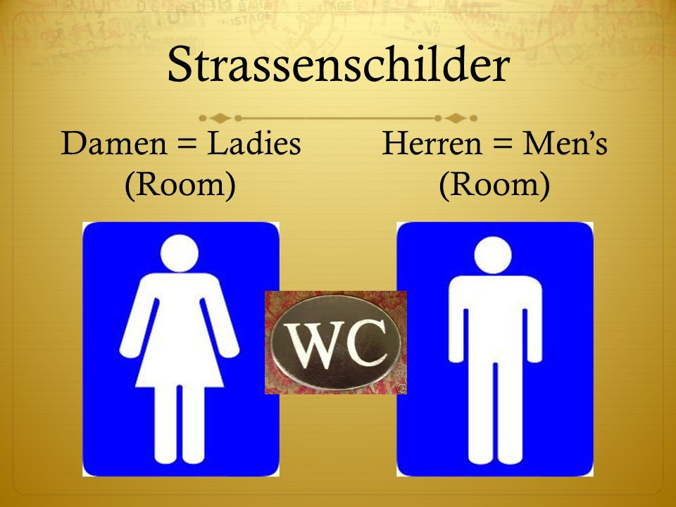 Strassenschilder Damen = Ladies (Room) Herren = Mens (Room)