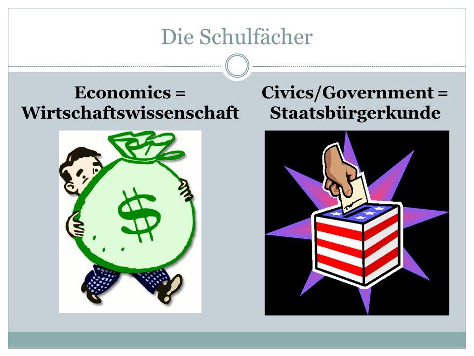 Die Schulfächer Economics = Wirtschaftswissenschaft Civics/Government = Staatsbürgerkunde