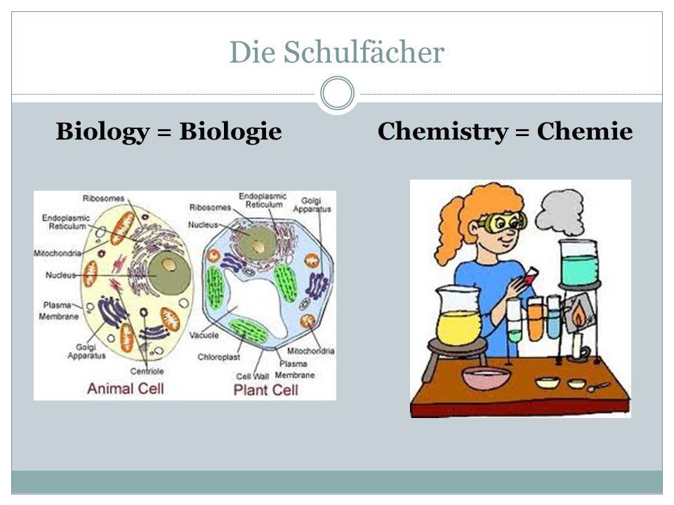 Die Schulfächer Biology = BiologieChemistry = Chemie