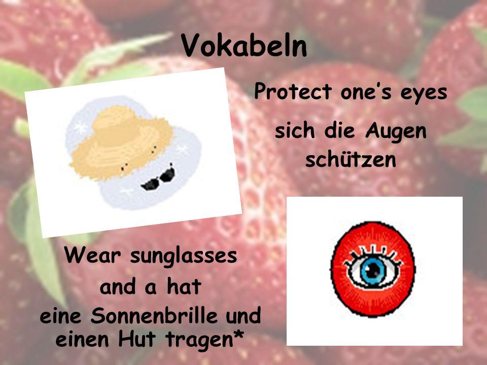 Vokabeln frisches Obst und Gemüse essen* Eat fresh fruit and vegetables Take (swallow) a vitamin pill eine Vitamintablette schlucken