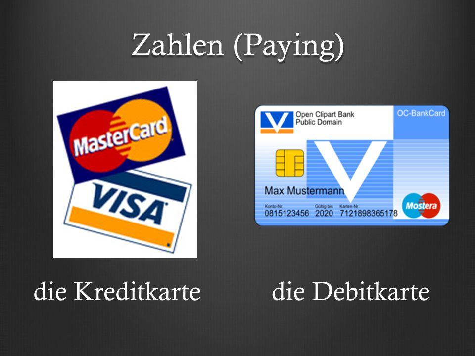 Zahlen (Paying) die Kreditkartedie Debitkarte